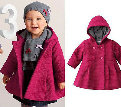Baby Girl Toddler Warm Fleece Winter Pea Coat Snow Suit Jacket Clothes Red Pink