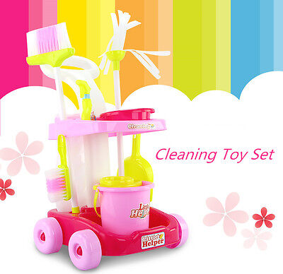 Kids Pretend Play Toy Cleaner Cleaning Trolley Set Broom Mop Bucket Tools Duster