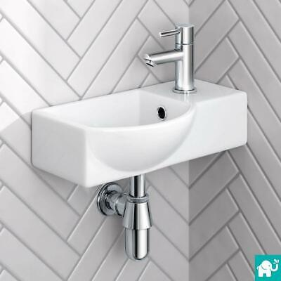 Modern White Ceramic Wall Hung Cloakroom Basin Bathroom Sink CA1006