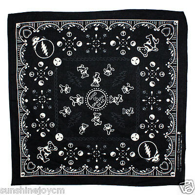 Good Ol' Grateful Dead Bandana Bandanna Black Hanky Handkerchief Cloth Napkin