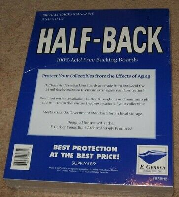 Pack of 100 E Gerber Half Back Premium Archival Magazine Backer Boards