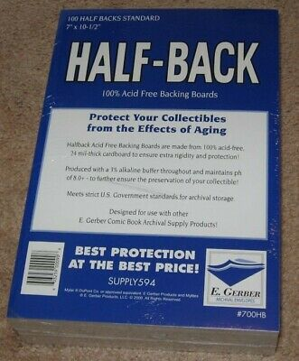 Pack 100 E Gerber Half Back Premium Archival Silver Bronze STANDARD Comic Boards