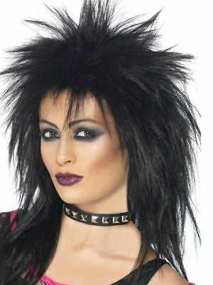 Black Rock Diva Wig Ladies 80s Fancy Dress Accesssory Wig 1980s Punk Wig
