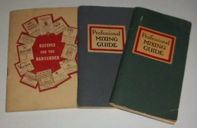 3 Vintage Professional Mixing Guide & Recipes For The Bartender~1950's