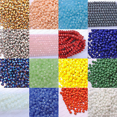 Top Quality Czech Glass Faceted Rondelle Spacer Beads Choose 6MM 4MM