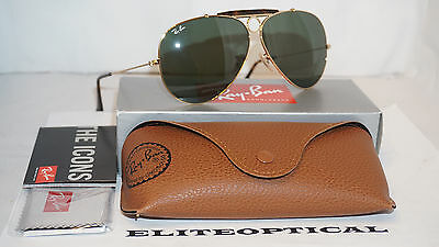 d69f3761099 RAY BAN NEW Sunglasses SHOOTER Gold Green Classic G-15 RB3138 181 62 ...