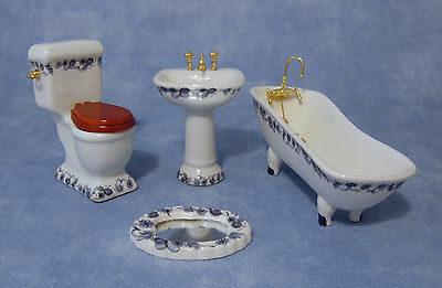 1:12 Scale 4 Piece Ceramic Bathroom Set Tumdee Dolls House Accessory 1430