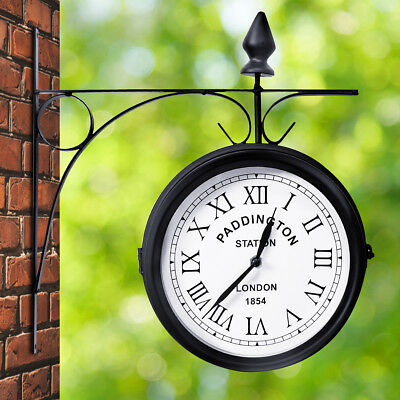 Outdoor Garden Paddington Station Wall Clock 20CM Double Sided Outside Bracket