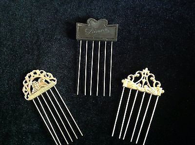 GREAT VINTAGE LOT OF 3 HAIR PICKS / LIFTS
