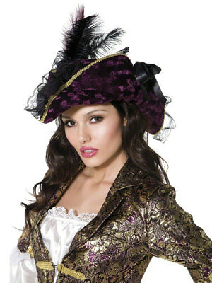 Pirate Hat Ladies Fancy Dress Costume Accessory Purple Deluxe Pirates Hat