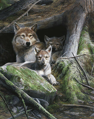 WILDLIFE ART PRINT - Mother's Pride by Kevin Daniel Wolf Wolves Poster 26.5x21