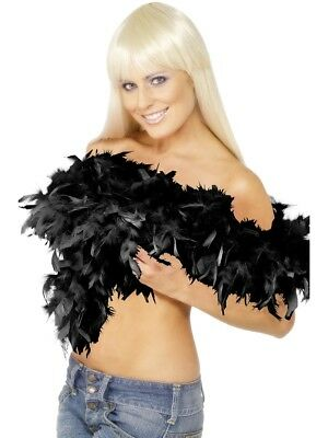 Deluxe Black Feather Boa Ladies Rocky Horror Fancy Dress Accessory 180Cm