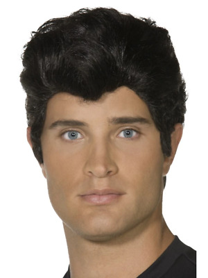 New Male Adult Danny Grease Wig Smiffys Fancy Dress Costume Accessory - Black