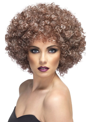 New Adults Womens Brown Small Afro Smiffys Fancy Dress Costume Wig