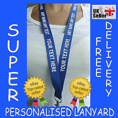 Custom Print Personalised Any Name Any Text Blue Lanyard With White Text CHEAP