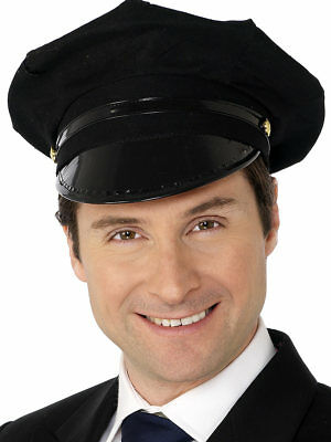 Black Chauffeur Hat Taxi Driver Limo Adults Fancy Dress Accessory