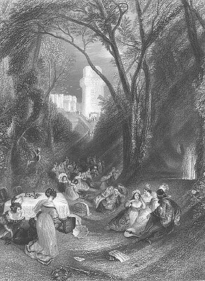 VICTORIAN ENGLAND RICH PICNIC IN PARK by CASTLE ~ Old 1862 Art Print Engraving