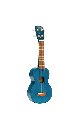 MAHALO Wooden Soprano Ukulele Transparent Blue & Bag Kahiko Series MK1TBU