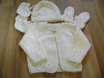 New Hand Knitted Cream Matinee Jacket, Hat ,Mitts and Bootees 0/3 months