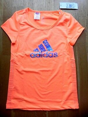 Adidas►Kinder Shirt Sport Schule Logo Tee Climalite Flash Orange►140-170►Neu