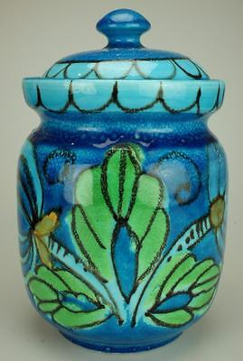 Attractive Blue Floral Lidded Jar Unbranded KC59