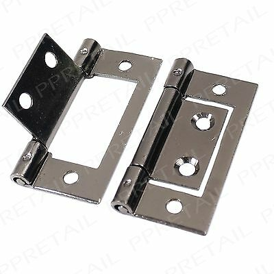 40 x Dark Chrome 50mm Flush Hinges Wardrobe Door Silver Kitchen Cabinet Cupboard