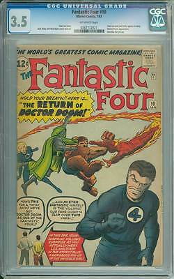 Fantastic Four # 10  The Return of Doctor Doom !  CGC 3.5 scarce book !