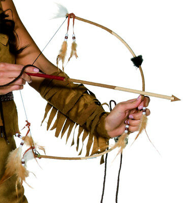 Feathered Indian Bow And Arrow Set Mens Fancy Dress Indians Accessory Wild West