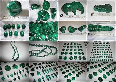 730x Pieces of polished genuine S. African Malachite, inc. Cabochons, Carved...
