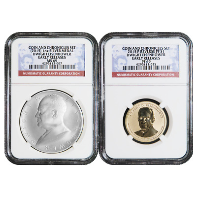 2015 Coin and Chronicles Dwight Eisenhower 2pc Set NGC PF69 MS69