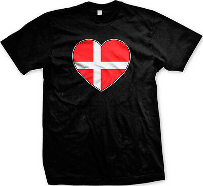 d68fe1cc9 Denmark Danish Danmark Flag Heart Football Soccer Love New Men s T-shirt