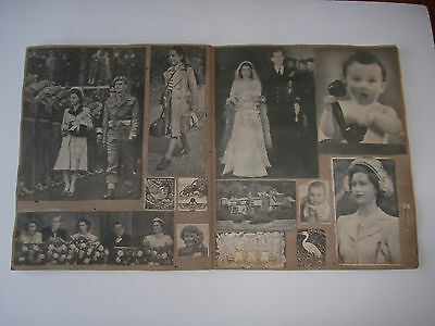 1940's / 50's SCRAP BOOK OF NEWSPAPER PICTURES - CHILDREN , ROYALTY AND MORE