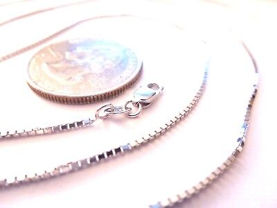 14K Solid White Gold 20 inch 1MM BOX CHAIN with Lobster Lock....100% Guaranteed!
