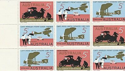 Australia 1969 SG 450/2 MUH Block of 9, 50th Anniv. of First Flight