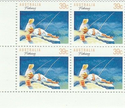 Australia 1989 SG 1179b MUH, Rare 13 1/2 Perforation in block 4, Fishing