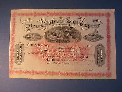 Old 1870's Riverside Iron and Coal Co. Mining Stock Certificate - SCRANTON PA.