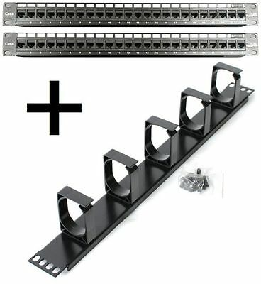 """2 x 24 Port Patch Panels (48) +1RU Cable Manager CAT6 Network 19"""" Inch Rackmount"""