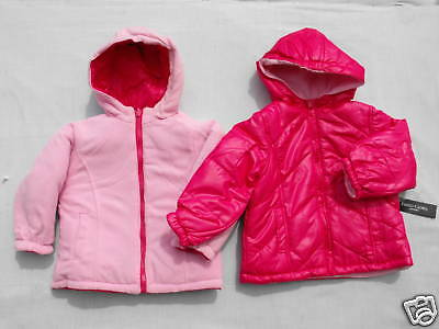 BNWT Girl Sz 1 to 2 Years Hot Pink Faded Glory Reversible Hooded Jacket Coat