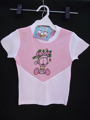 BNWT Baby Girls Sz 00 Super Soft 100% Cotton Garfield Baby Print Pink T Shirt