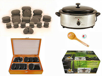 MassageMaster HOT STONE MASSAGE KIT: 36 Basalt Stones + 6.5 Quart Heater