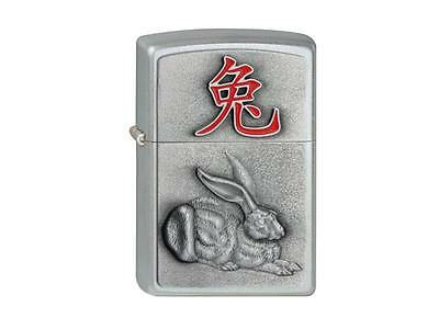 "ZIPPO ""YEAR OF THE RABBIT"" EMBLEM BRUSHED CHROME LIGHTER / 2001976 * NEW in BOX"