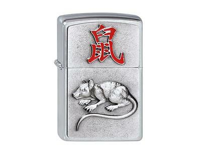 "ZIPPO ""YEAR OF THE RAT"" EMBLEM SATIN CHROME LIGHTER / 2002450 * NEW in BOX"