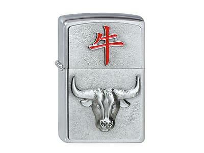 "ZIPPO ""YEAR OF THE BUFFALO"" EMBLEM SATIN CHROME LIGHTER / 2002451 * NEW in BOX *"
