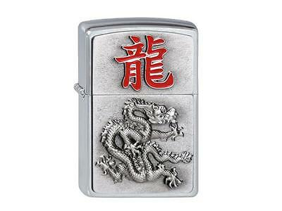 "ZIPPO ""YEAR OF THE DRAGOON"" EMBLEM SATIN CHROME LIGHTER / 2002452 * NEW in BOX *"