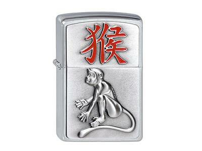"ZIPPO ""YEAR OF THE MONKEY"" EMBLEM SATIN CHROME LIGHTER / 2002456 * NEW in BOX *"