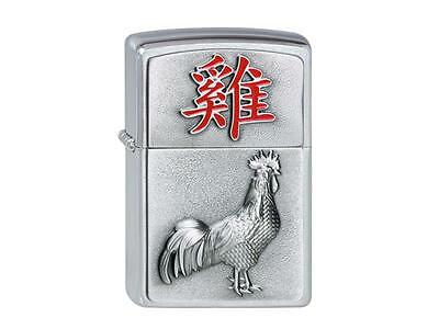 "ZIPPO ""YEAR OF THE ROOSTER"" EMBLEM SATIN CHROME LIGHTER / 2002457 * NEW in BOX *"