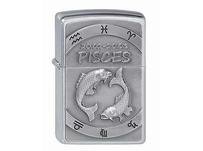 "ZIPPO ""PISCES"" EMBLEM BRUSHED CHROME LIGHTER / 2002071 *NEW in BOX* FISH ZODIAC"