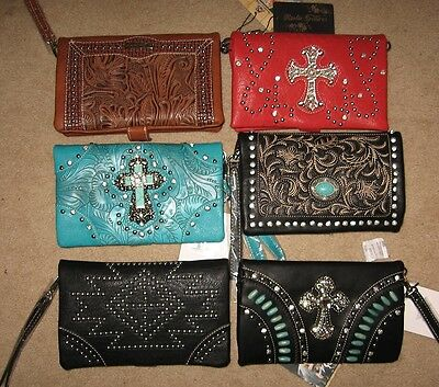 WESTERN MESSENGER BAGS 6 COLORS AND DESIGN 8x5 COWGIRL ACCESSORIE CLUTCH PURSES
