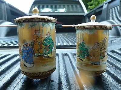 Pair Very Fine Japanese Satsuma His & Hers Lidded Drinking Cups Possibly 19Th C