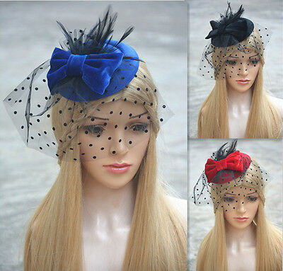 Lady Mini pillbox hat fascinator hair accessories bridal Veils bow wedding A319